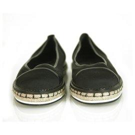 Chanel-Chanel Black Fabric & Leather Cap Toe Flat Espadrilles Jute platform size 38-Black