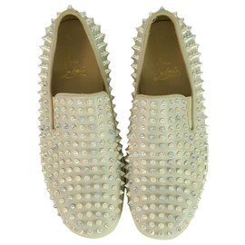 Christian Louboutin-Christian Louboutin off White Roller Boat spike-embellished slip-on trainers size 38-Cream