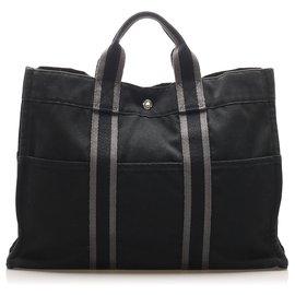 Hermès-Hermes Black Fourre Tout MM-Black,Grey