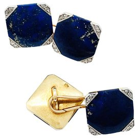 inconnue-Pink gold Art Deco cufflinks, Platinum, diamonds and lapis lazuli.-Other