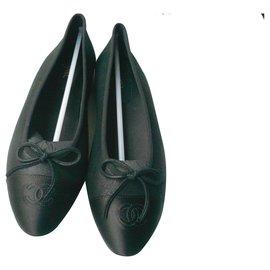 Chanel-CHANEL New black iridescent leather ballerinas41 IT-Black