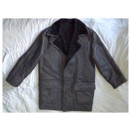 Autre Marque-VAN GILLS Original Shearling Dutch Mouton Black Lammy Coat, SIZE M-Black