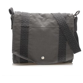 Hermès-Hermes Gray Fourre Tout Besace Messenger PM-Other,Grey