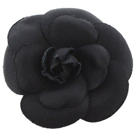 Chanel-Chanel Black Camellia Brooch-Black