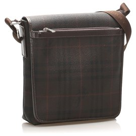 Burberry-Burberry Brown Plaid Coated Canvas Crossbody Bag-Brown,Multiple colors,Dark brown