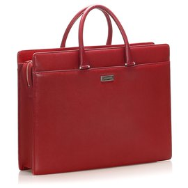 Burberry-Burberry Red Leather Business Bag-Red,Dark red