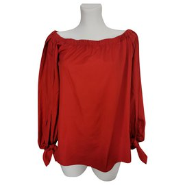 Yves Saint Laurent-Wrap blouse-Red