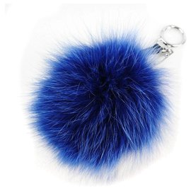 Fendi-Fendi Bijoux de sac Pompon-Blue