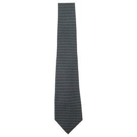 Hermès-Hermes tie Green and burgundy-Multiple colors
