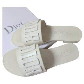 Dior-Tongs en caoutchouc ivoire Dior Sz 39-Beige