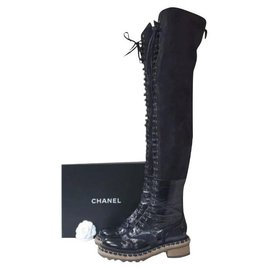 Chanel-Chanel Paris Salzburg Black Leather Suede Over Knee Boots Sz. 39-Black