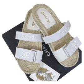 Chanel-CHANEL CC Logo Textile Flat Sandals Slippers Flip Flops  Sz.41-Beige
