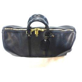 Louis Vuitton-keepall 45 Cuir épi noir-Black