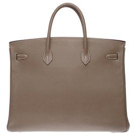 Hermès-Splendid Hermès Birkin 40 in tow epsom, palladium silver metal trim-Grey