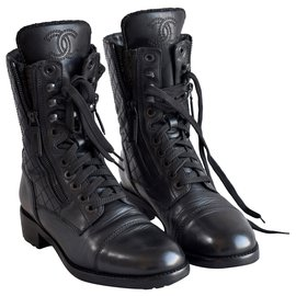 Chanel-Iconic Combat Boots-Black