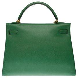 Hermès-Rare Hermès Kelly 32 returned shoulder strap in green Courchevel, gold plated metal trim-Green