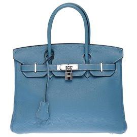 Hermès-Splendid Hermès Birkin 30 in Blue Jean Togo leather, palladium silver metal trim-Blue