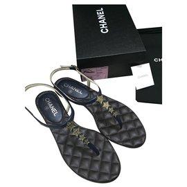 Chanel-Sandals-Dark blue