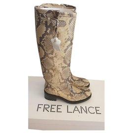 Free Lance-Biker 4 Geronimo - snake print-Beige