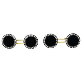 inconnue-Cufflinks 1910 In gold, money, onyx and diamonds.-Other