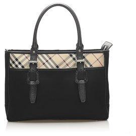 Burberry-Burberry Black Nova Check Leather Tote Bag-Black,Multiple colors