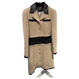 Chanel-Coats, Outerwear-Black,Beige