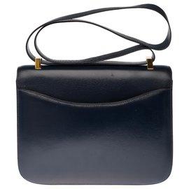 Hermès-Splendid Hermès Constance 23 in navy blue box leather, gold plated metal trim-Navy blue
