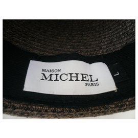Maison Michel-MAISON MICHEL TL brown straw hat-Brown