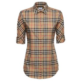 Burberry-BURBERRY LUKA CHECKED STRETCH COTTON BLEND SHIRT-Multiple colors,Beige