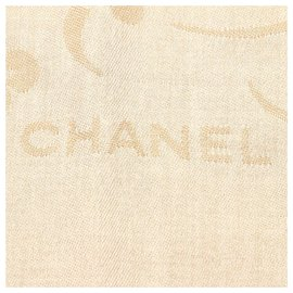 Chanel-Chanel Brown Printed Silk Scarf-Brown,Beige