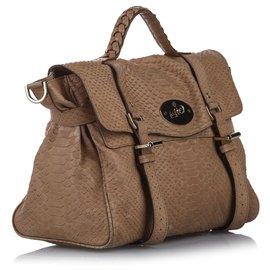Mulberry-Mulberry Brown Alexa Embossed Leather Satchel-Brown,Beige