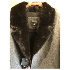 Autre Marque-TORRAS Caban 100% alpaca and mink collar-Dark grey