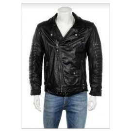 Autre Marque-REVIEW Fashion Quality Garments Germany - lined Breasted BRANDO Style Leather Biker Jacket, SIZE M-Black