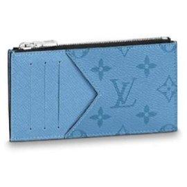 Louis Vuitton-LV Coin card holder denim blue-Blue