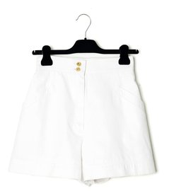 Chanel-WHITE SHORT WIDE SHORTS FR34/36-White