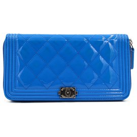 Chanel-Chanel 2016-2017 blue boy wallet-Blue