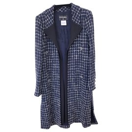 Chanel-8K$ gorgeous tweed coat-Navy blue