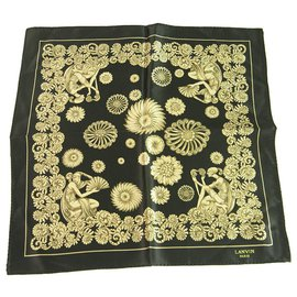 Lanvin-LANVIN 100% Silk Black Gold Floral Men's Pocket Square Scarf-Black