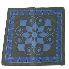 Lanvin-LANVIN 100% Silk Blue Floral Men's Pocket Square Scarf , Superb-Blue