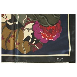 Lanvin-LANVIN 100% Silk Blue Multicolor Floral Men's Pocket Square Scarf , Superb-Multiple colors