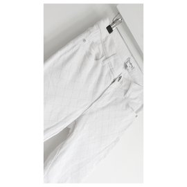 Chanel-SS18 White Quilt Embossed Jeans-White