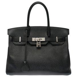 Hermès-Splendid Hermès Birkin 30 in black epsom leather, palladium silver metal trim-Black