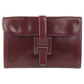 Hermès-Hermes Red Jige PM Leather Clutch Bag-Red,Dark red