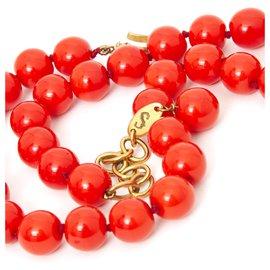 Chanel-CORAL VINTAGE CHOKER-Red,Golden