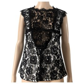 Chanel-Chanel black lace top-Black