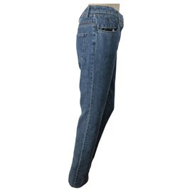 Chanel-Chanel straight jeans with black vinyl-Blue