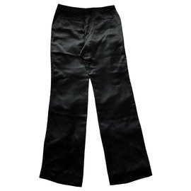 Chanel-Chanel black satin pants-Black