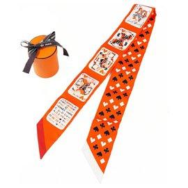 Hermès-Hermes Twilly playing card pattern Jeu De Cartes Womens scarf orange x white-White,Orange