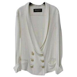 Balmain-Balmain Golden Buttons lined Breasted Viscose  Jacket Sz 36-White