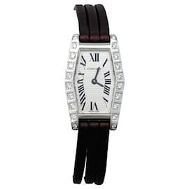 """Cartier-Montre Cartier """"Lanière"""" en or blanc et diamants, bracelet cuir.-Autre"""